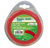 Riegolux 107662 Fil Débroussailleuse Nylon Carré Rouge 2.4 mm x 15 m