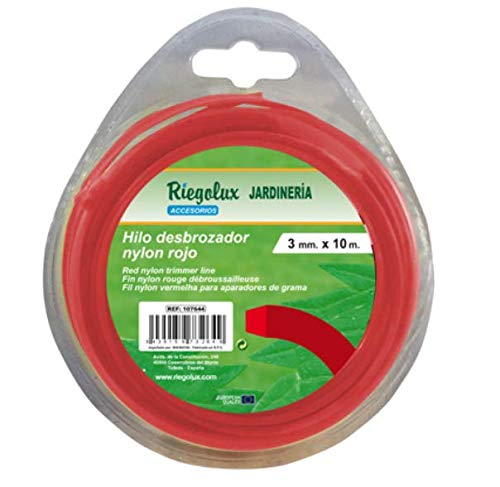 Riegolux 107662 Hilo Desbrozadora Nylon Cuadrada, Rojo, 2.4 mm x 15 m