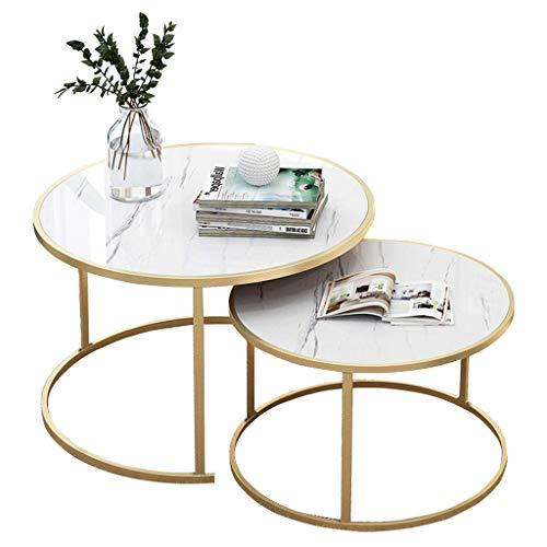 2-teilig | Stapelbare Elegante Couchtische | Runder Nesting Beistelltisch | Wohnzimmer Lounge Set | Gold Metallrahmen (Weiß)