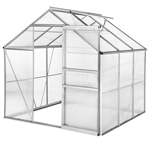 TecTake 800416 - Greenhouse Polycarbonate Aluminium, Growhouse with Window & Sliding Door 190x185x195 cm - different models - (190x185x195 cm | no. 402473)