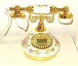 Designo New Replica Antique Telephone, Vintage Retro landline house home phone handset, corded machine Golden fashion 60s classic dial set BT antik