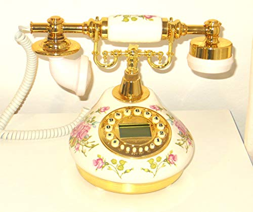 Designo New Replica Antique Telephone, Vintage Retro landline house home phone handset, corded machine Golden fashion 60s classic dial set BT antik