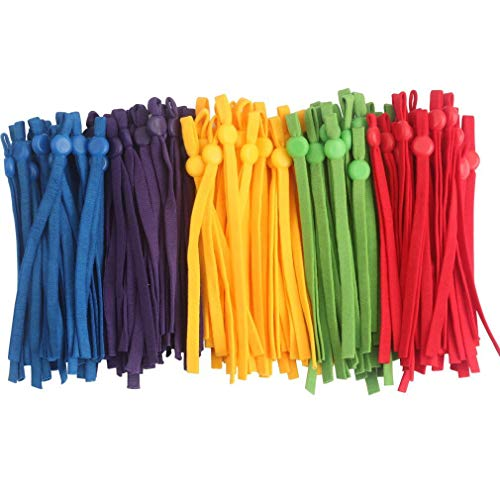 100PCS Elastic String Bands for Masks Sewing - 1/4 inch Adjustable Elastic,Earloop for Crafts DIY Mask (A-100PCS Blue,Yellow,Red,Purple,Green)