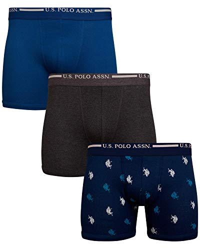 U.S. Polo Assn. Men's Cotton No Fly Boxer Briefs with Comfort Pouch (3 Pack), Blue/Blue Print/Charcoal, Size Small'