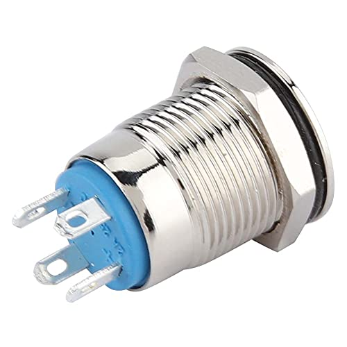 Interruptor de botón momentáneo, fácil de instalar, botón pulsador momentáneo, 12 mm, cobre 24 VDC (verde)