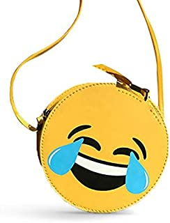 Bag for girls yellow leather funny face symbols Whatsapp Emoji