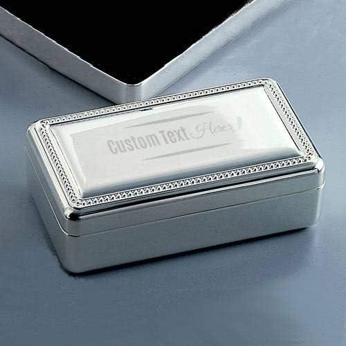 Jewelry Box Silver Beaded Edge Rectangular Brightly Polished Finish Perfect Keepsake Gift Personalized Free Engraving Non Tarnishing