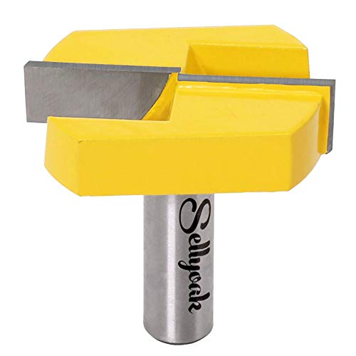 Bottom Cleaning Router Bit, SellyOak Woodworking Milling Cutter, 1/2 Inch Shank 2-1/4 Inch Cutting Diameter, Carbide Tipped Cleaning Bottom Router Bits for CNC or Table (Solid Steel)