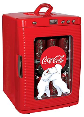 Koolatron KWC-25 Cooler with LED Display, (26 Quarts/25 Liters) 28 Cans Capacity-Includeds 12 Volt DC and 110 Volt AC Cords, Red