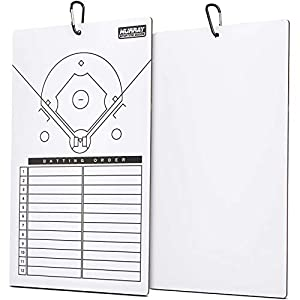 EASY TO WIPE OFF SURFACE: dry erase baseball/softball coach lineup board works with most dry erase markers and has an easy to wipe off surface FADE-RESISTANT LINES: baseball/softball field layout with 12-person batting lineup that won't fade on white...