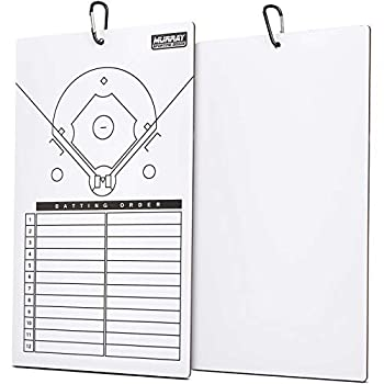Murray Sporting Goods Dry Erase Baseball Coaches Clipboard - White Baseball Coach Lineup Board | Perfect Coaches Gift for Baseball & Softball Coaches