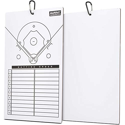 Murray Sporting Goods Dry Erase Baseball Coaches Clipboard - White Baseball Coach Lineup Board | Perfect Coaches Gift for Baseball & Softball Coaches