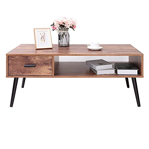 IWELL Mid-Century Coffee Table with Drawer and Storage Shelf for Living Room, Wood Cocktail Table, Accent Table for Reception Room/Office, Easy to Assemble, Rustic Brown