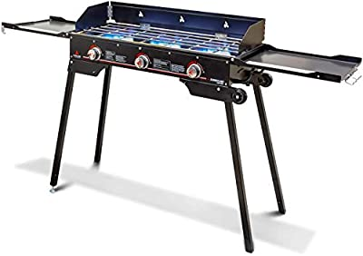 Outland Portable Camping Stove - 3 Zone Propane Gas Burner Controller with Auto Ignition - 2 Folding Cook Stations - Adjustable Leg - Traveling Camp Stove Great for Backyard, Picnicking, RV, Hunting