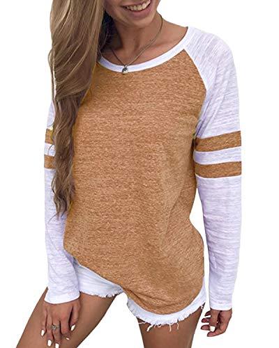YOINS Pulli Damen Langarmshirt Sweatshirt mit Streifen Rundhals Ausschnitt Oversize Hemd, Streifen-braun, Gr.- S/ 36-38