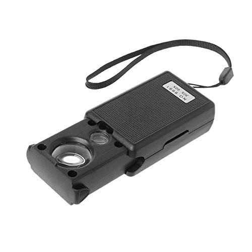Abnana 30x 60x Magnifier LED Portable Magnifying Jeweler Microscope Currency Detector