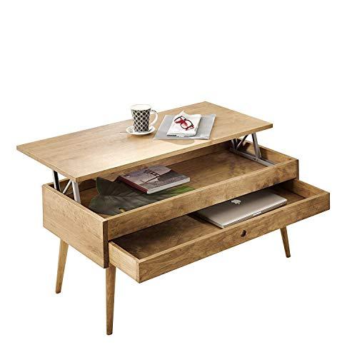Mesa de centro elevable con cajón deslizante diseño vintage, madera maciza natural. 100cm x 50cm x 47cm