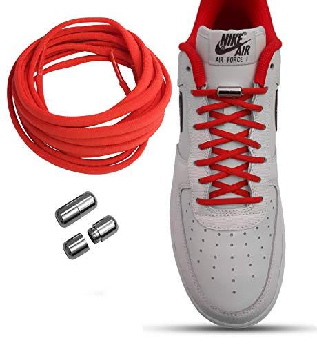 Lacelock Schnürsenkel: elastisch ohne binden mit Schnellverschluss, schleifenlos aus Polyester dauerhaft haltbar für Kinder und Erwachsene, mit Metallverschluss perfekt für jeden Schuh (Rot)