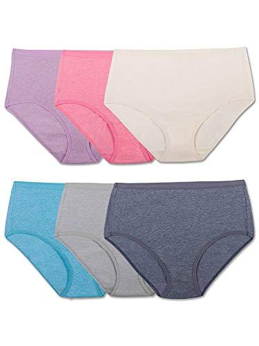 Fruit of the Loom Women's Underwear Beyond Soft Panties (Regular & Plus Size), Brief - 6 Pack - Assorted Color, 6