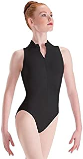 Motionwear Zip Front Mock T High Cut Leotard