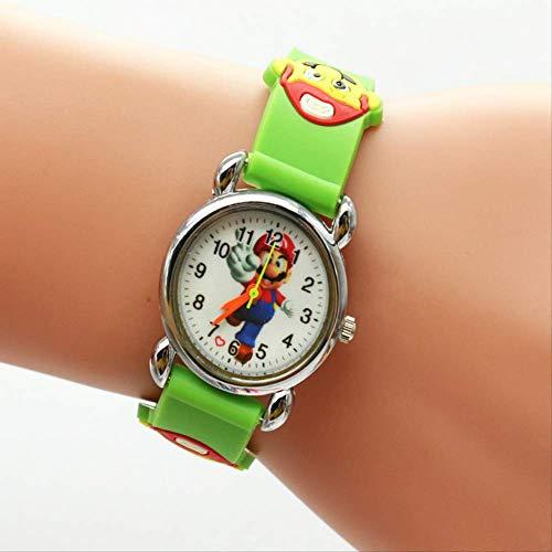 FENGHU mario alarma de dibujos animados 3d Encantador Super Mario Niños Niñas Niños Niños Estudiantes Cuarzo Reloj de Pulsera Muy Popular Relojes