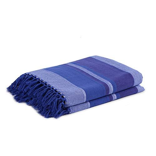Homevibes Manta Multiuso con Flecos, Manta para Sofa, Manta para El Dormitorio, Colores Varios 100% Algodon Tres Medidas:170x250 / 210x270 / 230x270cm, Manta Multifuncional (Azul, 210x270cm)