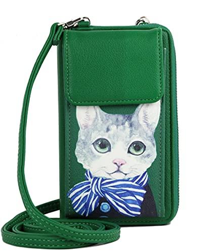 irisaa Bolso bandolera para mujer con protección RFID, bolso cruzado con compartimento para teléfono móvil y correa ajustable, Gato verde., Einheitsgröße