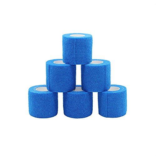 Fuluning kohäsive Bandage selbstklebend Bandage Rolle Flexible Bandage Vlies kohäsive Athletic Tape blau 5 cm 6 Stück Rollen
