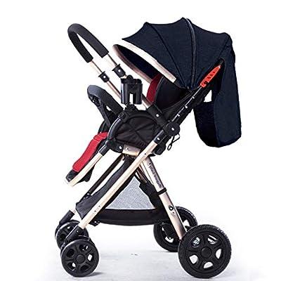 YXCKG Sistema de Viaje para Cochecito, Baby Baby Strollers Transformación inversa o hacia adelante Silla de Paseo antichoque con Dosel Ajustable, Marco Dorado (Color : Black)