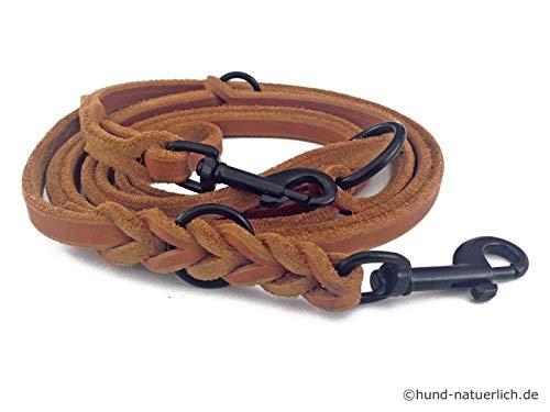 Fettleder Führleine 3-Fach verstellbare Lederleine geflochten für Hunde 96 Modelle zur Auswahl (2,40m x 12mm, Cognac, schwarz Matte Haken)