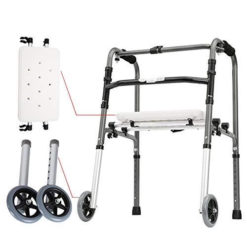 HYDT Rollator Gehhilfen Aufrechte Wanderer für Ältere Menschen, Einstellbare Gehhilfe zum Zusammenklappen mit Sitz und Rad, Menschen mit Körperlichen Behinderungen, Einfacher Speicher