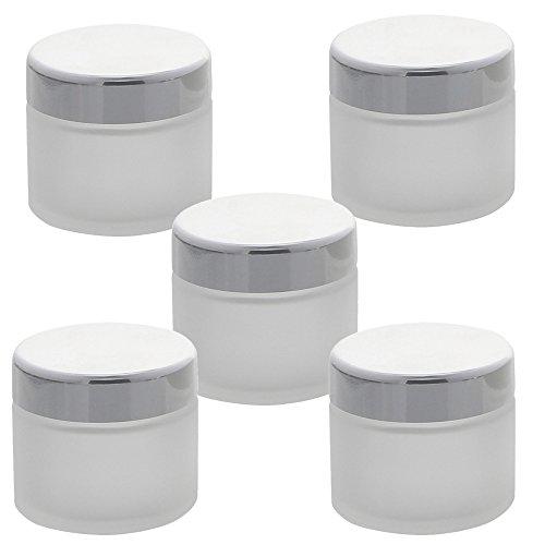 5 matte Glas-Tiegel 100ml mit silbernem Deckel Kosmetex Kosmetik-Dose, Salbentiegel, Cremedose, 5x Deckel-Silber