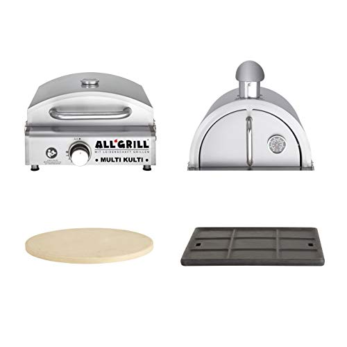 Allgrill Multi-KULTI Set 4 zündgesichert - Gasgrill + Pizzahaube + Pizzastein + Gussgrillplatte