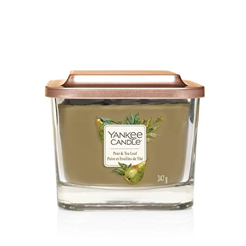 Yankee Candle Elevation Collection con Coperchio della Piattaforma Candela Quadrata a 3 Stoppini, Pera e Foglia di tè, Media