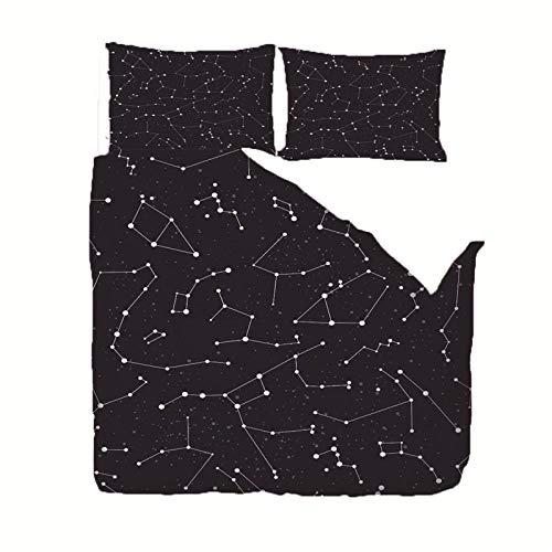 WPHRL Juego de Ropa de Cama 3 Piezas Poliéster Microfibr Constelación Negra Juego de Fundas de Edredón Incluye 1 Funda Nórdica y 2 Funda de Almohada 220x240cm