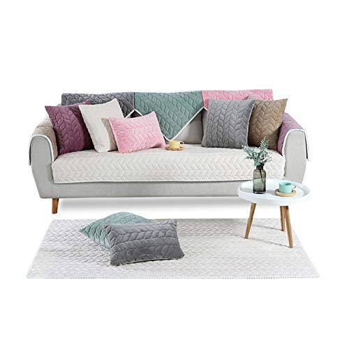 PETCUTE Sofaüberwurf couchbezug sofahusse Gesteppte Sofabezüge Sofa Schonbezug Couch Sofa überwurf ecksofa Cremeweiß 90X180cm