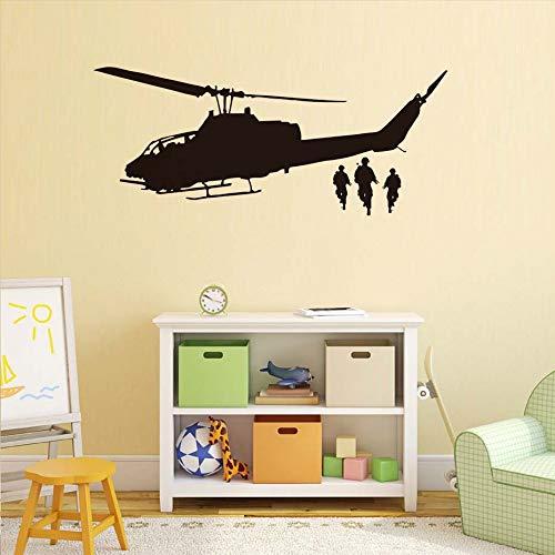 yiyiyaya Etiqueta de la Pared del helicóptero calcomanía para niños Dormitorio niños ejército decoración Negro 136 cm x 57 cm