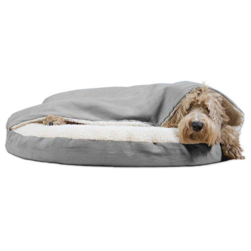 Furhaven Pet Dog Bed - Orthopedic Round Cuddle Nest Faux Sheepskin Snuggery Blanket Burrow Pet Bed with Removable Cover for Dogs and Cats, Gray, 35-Inch