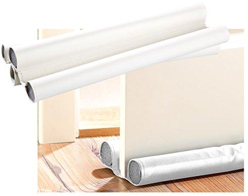 infactory Zugluftstopper Haustür: Kunstleder-Zugluft-Stopper für Türen bis 60 mm Dicke, weiß (Zugluftstopper, zuschneidbar)