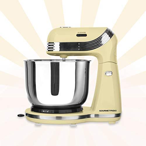 GOURMETmaxx Küchenmaschine Retro | Multifunktionsmixer, 50's Retro Style | Mixen, Sahneschlagen | 250 Watt (Edelstahl, Vanille)