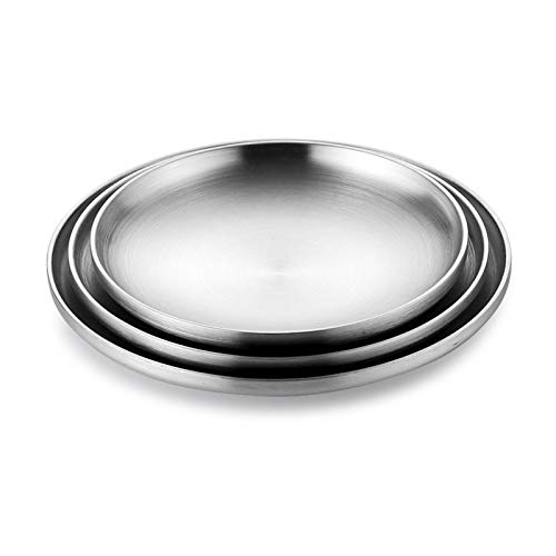 Platos Llanos Hogar de doble capa de aislamiento de acero inoxidable 304 de placa plana, Ronda de la placa inferior del plato del plato Barbacoa placa de 10 pulgadas Placa de la fruta placa postre 3 P