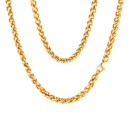 FaithHeart 3/6MM Cadena Sólida de Trigo Espiga Acero Inoxidable Plateado/Dorado/Negro Collar Básico Personalizable para Hombres y Mujeres Joyería Simple