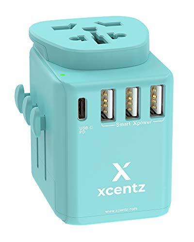 XCENTZ Reiseadapte USB Ladegerät mit 4-Port Ladestecker Netzteil (1 USB-C Anschluss und 3 Quick Charge Anschlus) Stromwandler mit austauschbare UK/US/AU/EU Stecker für iPhone, Galaxy, iPad