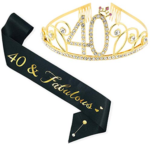 LATFZ 40th Birthday Tiara and Sash, Happy 40th Birthday Party Supplies, 40th Glitter Satin Sash and Crystal Tiara Birthday Crown for 40th Birthday Party Supplies and Decorations (Golden)