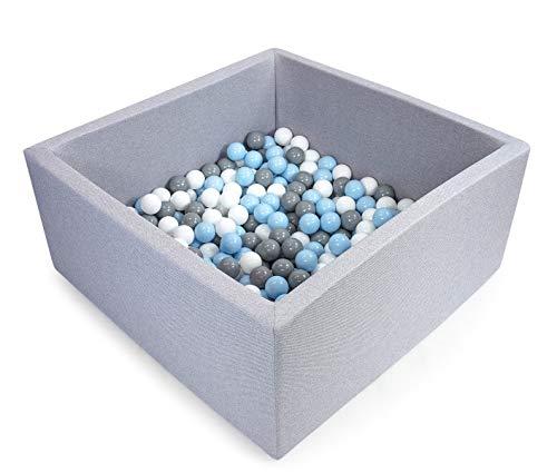 Tweepsy Soft Baby Ball Square Pool Pit 250 Balls 90x90x40cm Handmade EU - BKWZ1N - Light Grey Pool: White, Grey, Sky Blue