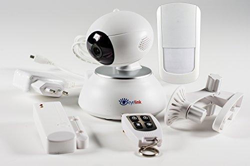 eyelink Pro – Cámara IP inteligente y sistema de alarma con sensor – mando a distancia – con aplicación alemana iOS y Android