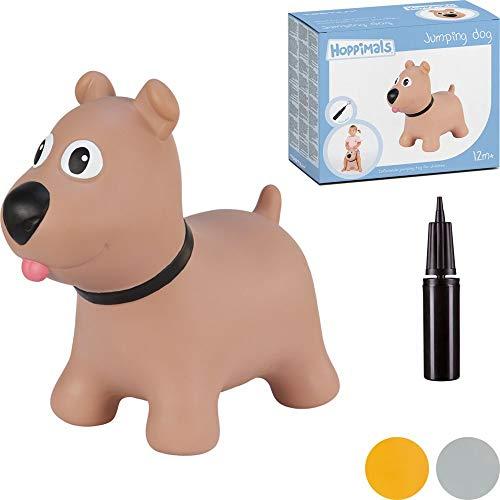 Hoppimals Tootiny Hüpfende Hund Space Hopper für Kinder - Hüpftier ab 1 Jahr und älter - Verpackt im Geschenkkarton, inklusive Pumpe - Reiten auf aufblasbaren Tieren, Baby-Hüpfer – BRAUN