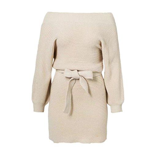 Jitong Damen PulloverKleid Langarm Schulterfrei Strickkleid Lang Strickpullover Beige