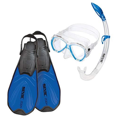 Seac Jungen Set Zoom Schnorchelset Taucherbrille Mit Schnorchel Und Flossen, blau, 36-38