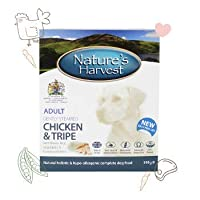 WET DOG FOOD FOR SMALL AND LARGE DOGS. The Natures Harvest Wet Dog Food Chicken, Tripe and Brown Rice combination is Wheat-Gluten Free, perfect for improving the overall gut health and mood of your dogs. An easy-to-chew-and-digest dog food that conta...